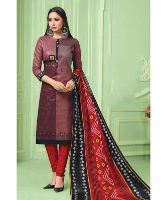 Multicolor Printed  Cotton Unstitched Salwar Kameez