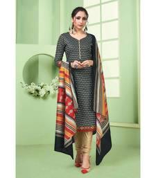 Black Printed  Cotton Unstitched Salwar Kameez