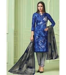 Blue Printed  Cotton Unstitched Salwar Kameez