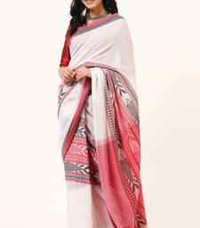 Bengal Handloom Cotton Fish Weave Red Saree