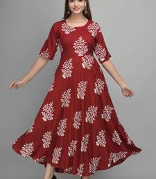 Jaipur Fashion Mode Womens Rayon Printed Anarkali Gown (Wine)