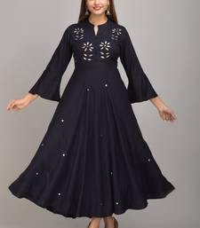 Jaipur Fashion Mode Womens Rayon Embroidered Anarkali Gown (Navy Blue)