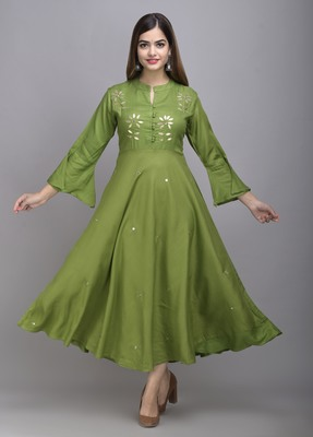 Jaipur Fashion Mode Womens Rayon Embroidered Anarkali Gown (Olive Green)