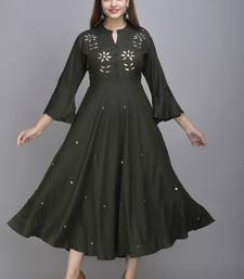 Jaipur Fashion Mode Womens Rayon Embroidered Anarkali Gown (Bottle Green)