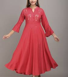 Jaipur Fashion Mode Womens Rayon Embroidered Anarkali Gown (Peach)
