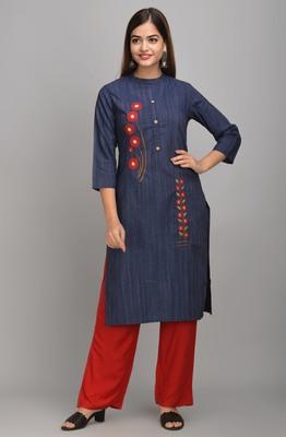 Jaipur Fashion Mode Womens Rayon Crista and Rayon Embroidered Straight Kurta Palazzo Set (Navy Blue)