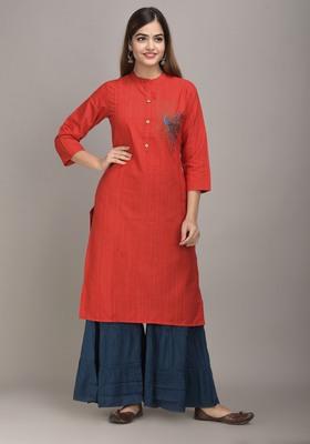 Jaipur Fashion Mode Womens Rayon Embroidered Straight Kurta Sharara Set (Red)