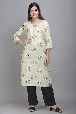 Jaipur Fashion Mode Womens Cotton and Chanderi Floral Print Straight Kurta Palazzo Duptta Set (Cream)