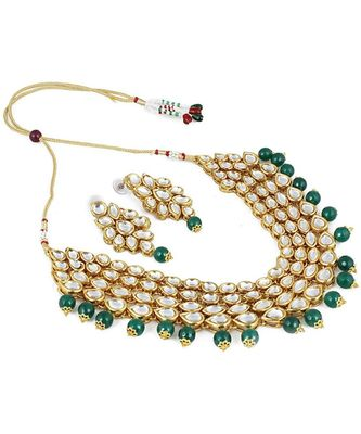 Traditonal Jewellery Gold Plated Pearl Kundan Stone Studded Necklace Earring Set for Women