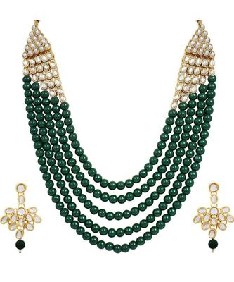 Wedding Collection Green 5 Layer Pearl and Kundan Rani Haar Necklace Jewellery Set with Earrings for Women