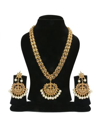 Gold Plated Antique Rani Haar Kundan White Pearl Drop Necklace Set
