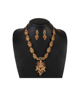 Gold Plated Designer Temple Necklace Set fOr Women
