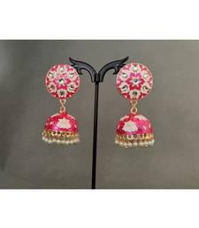 Gold Plated Pink Meenkari Jhumkii For Women