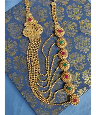 Gold Plated Wedding Jewellery 7 String Necklace Set For Women