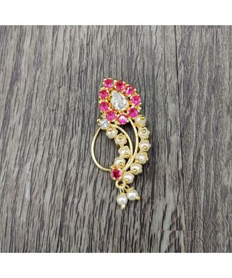 Traditional Maharashtrian Nose ring without piercing Pearl Gold Plated Nath Clip On Nose Ring For Women