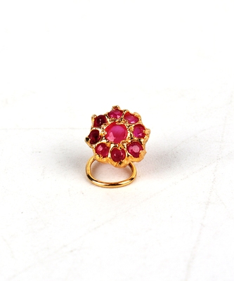 Gold Plated Pink Stone Studded Nose Ring