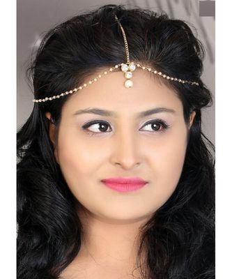 Kundan Stone Gold Plated Matha Patti Maang Tika for Women & Girls