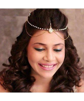 Traditional Bridal Gold Pearl Chain Mathapatti / Maang Tikka for Women & Girls