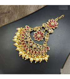 Gold Plated With Red Stone Studded Side passa for Women