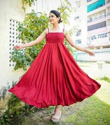 Red plain viscose rayon maxi-dresses