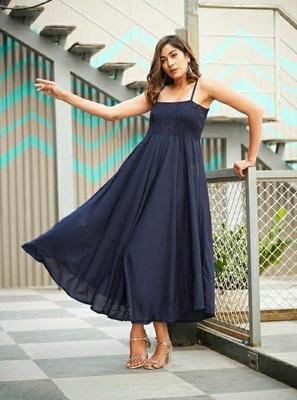Navy-blue plain viscose rayon maxi-dresses