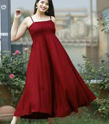 Maroon plain viscose rayon maxi-dresses