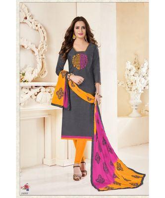 grey emroidery modal silk unstitch straight fit churidar salwar suits