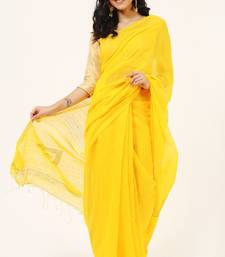 Bengal Handloom Cotton Yellow Twinkle Saree