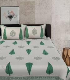 Green and White King size Bed sheet With 2 Pillow Cover