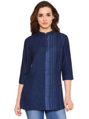 Navy-blue printed denim tunics