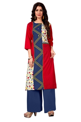 red Venika Creations Americian Crepe Digital Print Kurta