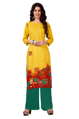 yellow Venika Creations Americian Crepe Digital Print Kurta