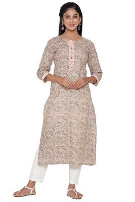 F Womens Cotton Cambric Traditional block Print Straight Kurta Pant Set (Peach)