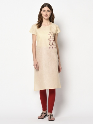 Wedani cream cotton Stright  kurti