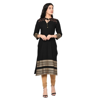 Wedani Black Rayon Stright kurti