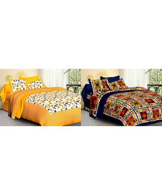 ridan cotton combo of bed sheet with pillow cover