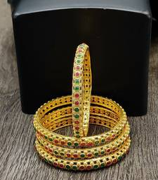 Gold Plated Multicolour Stone Studded Set of 4 Bangles