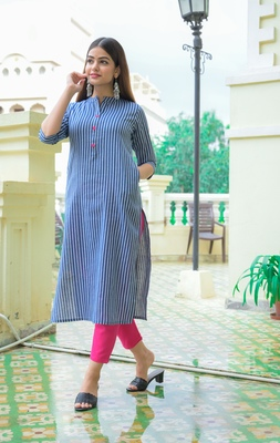 Blue Lining Cotton Blend Kurti and Pant Set
