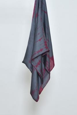 Grey & Maroon Tie-Dye Satin Hijab