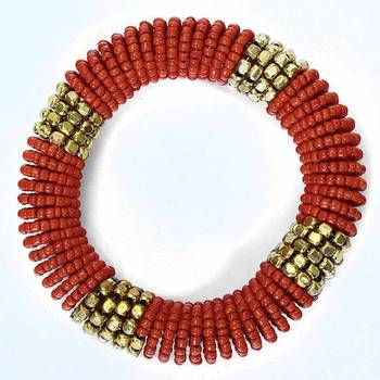 Coral Coiled Bracelet