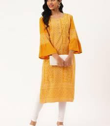 Mustard woven rayon ethnic-kurtis