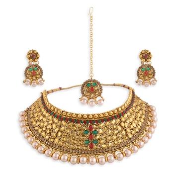 Gold Plated Stone Studded Traditional  Choker Set