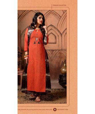 orange printed cotton long kurtis
