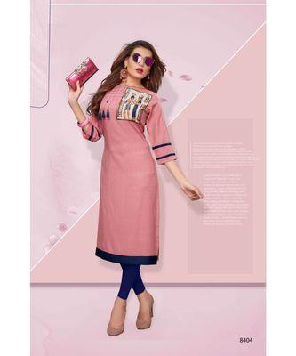 pink digital print rayon straight fit kurtis