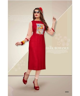 red digital print rayon straight fit kurtis