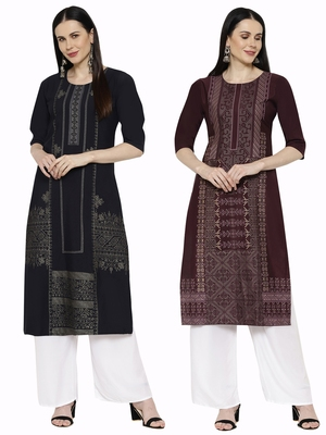 1 Stop Fashion Women's Multicoloured Digital printed Crepe Knee long kurtas/kurtis