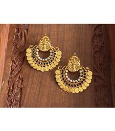 BEAUTIFUL ANTIQUE BLACK BALI LAKSHMI COIN DESIGNER EARRINGS DJ26468