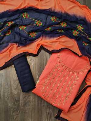 Anaita Chanderi Cotton Orange Color Embellised Dress Material With Embroidered Dupatta