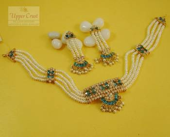 Jadau Pearl AD Blue Necklace Jewellery Set