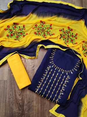 Anaita Chanderi Cotton Navy Blue Color Embellised Dress Material With Embroidered Dupatta
